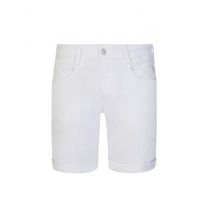 White Anbass Stretch Denim Shorts