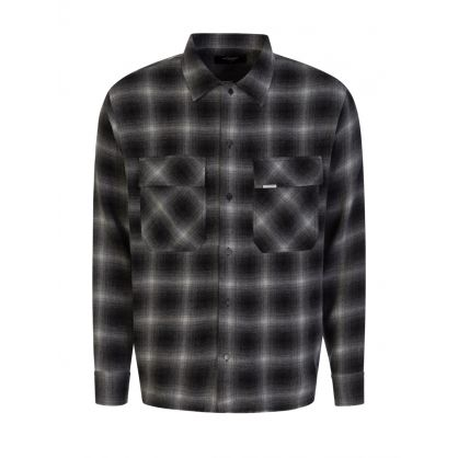 Black Slightly Oversized Flannel Shirt