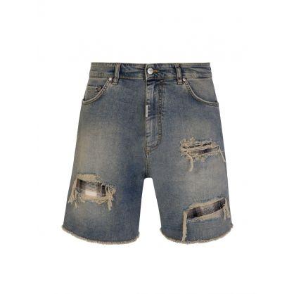Blue Underwork Shredded Denim Shorts
