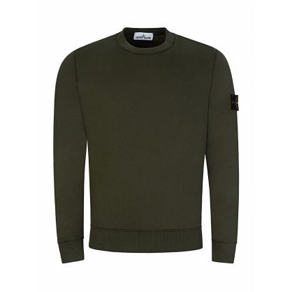Green Basic Brushed Cotton Fleece Sweatshirt