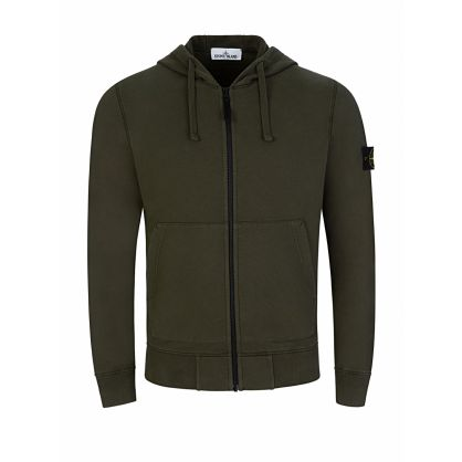Green  Basic Zip-Through Hoodie