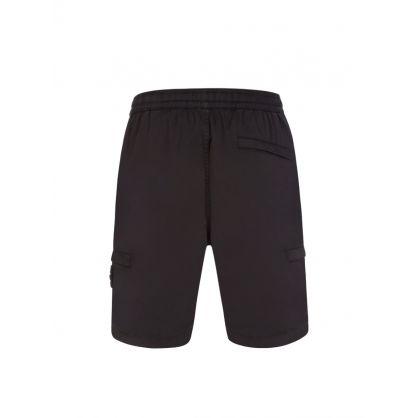 Black Cotton/Wool Blend Cargo Shorts