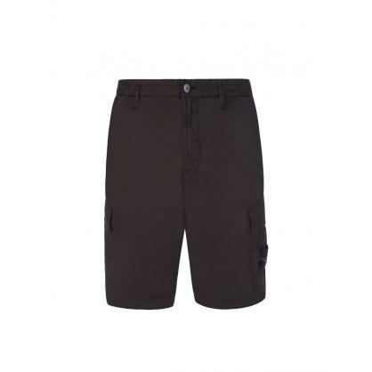Black Garment-Dyed Cargo Shorts