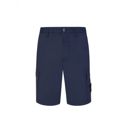 Dark Blue Garment-Dyed Cargo Shorts