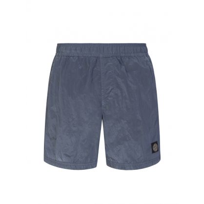 Blue Nylon Metal Logo Swim Shorts