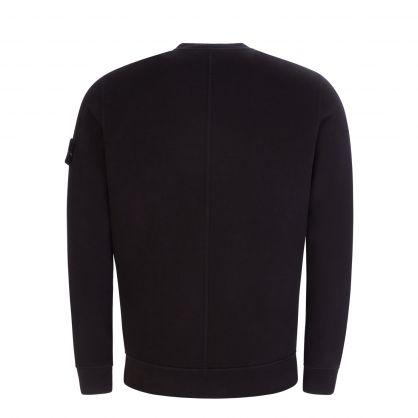 Black Brushed Cotton Fleece Pocket Sweatshirt