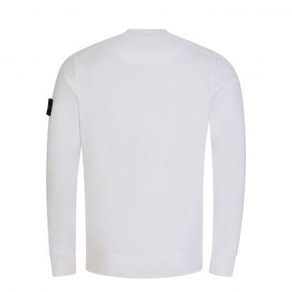 White Brushed Cotton Fleece Sweatshirt