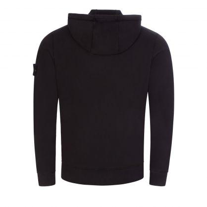 Black Brushed Cotton Fleece Zip-Through Hoodie