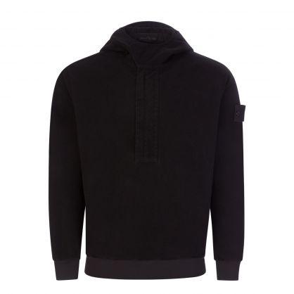 Black Ghost Logo-Appliquéd Chenille Half-Zip Hoodie