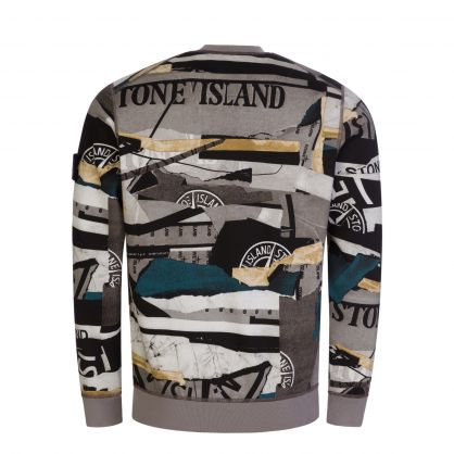 Grey Mixed Media All-Over Print Sweatshirt