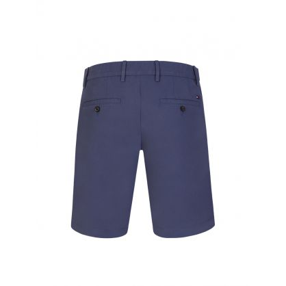 Mid Blue Brooklyn Cotton Twill Shorts