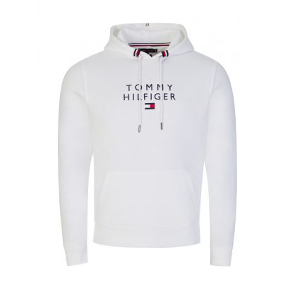 White Stacked Tommy Flag Popover Hoodie