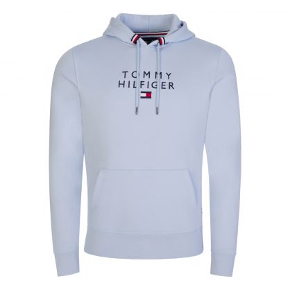 Light Blue Stacked Tommy Flag Popover Hoodie