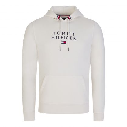 Ivory Stacked Tommy Flag Popover Hoodie