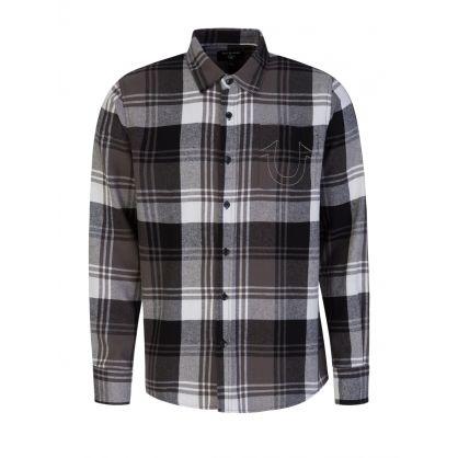 Grey Plaid Flannel Shirt