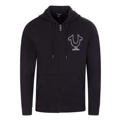 Black Vertical Back Logo Zip-Through Hoodie