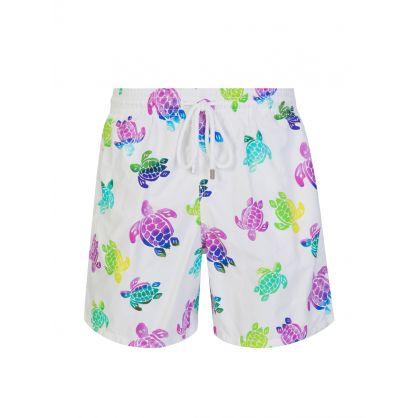 White Turtle Print Swim Shorts