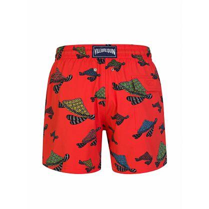 Red Stretch Turtle Print Swim Shorts