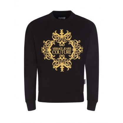 Black Slim-Fit Embroidered Logo Sweatshirt