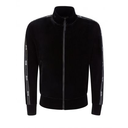 Black Velvet Stretch Zip-Through Sweatshirt