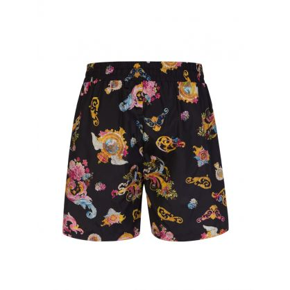 Black Cameo Pattern Swim Shorts