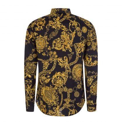 Black/Gold Baroque-Print Shirt