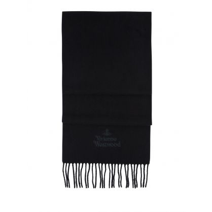 Black Embroidered Lambswool Scarf