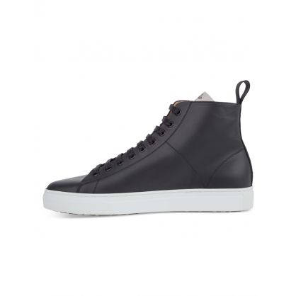 Black Leather High-Top Tennis Trainers