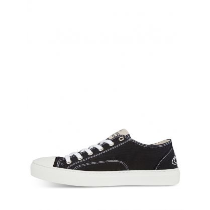 Black Low-Top Canvas Plimsoll Trainers