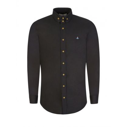 Black Two-Button Grandad Collar Krall Shirt