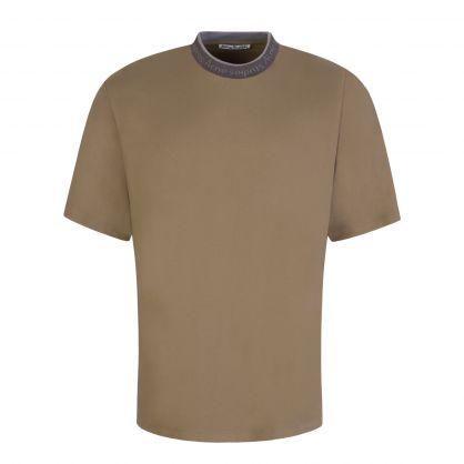 Dark Beige Logo Collar T-Shirt