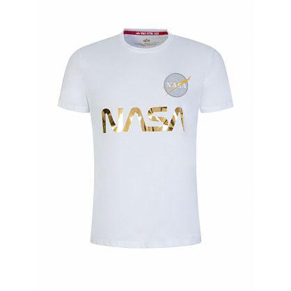 White NASA Reflective Logo T-Shirt