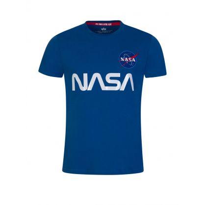 Blue NASA Reflective Logo T-Shirt