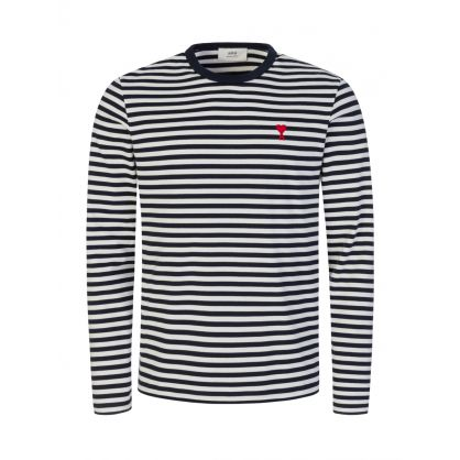 Navy/White AMI de Coeur Striped T-Shirt