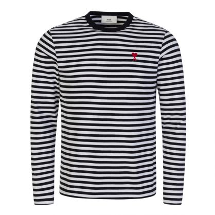 Black/White Long-Sleeve Striped Marinier T-Shirt