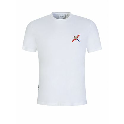 White Bee Bird Embroidery T-Shirt
