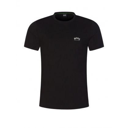 Black Curved Logo Athleisure T-Shirt