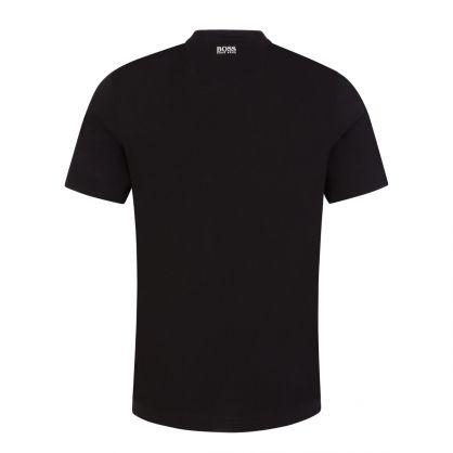 Black Athleisure Layered Logo Artwork T-Shirt