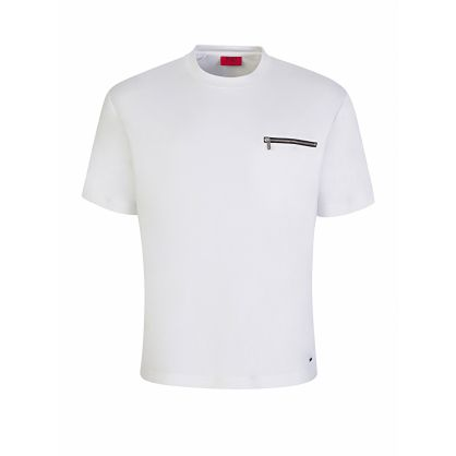 Menswear White Oversized Zip Pocket Dalzo T-Shirt