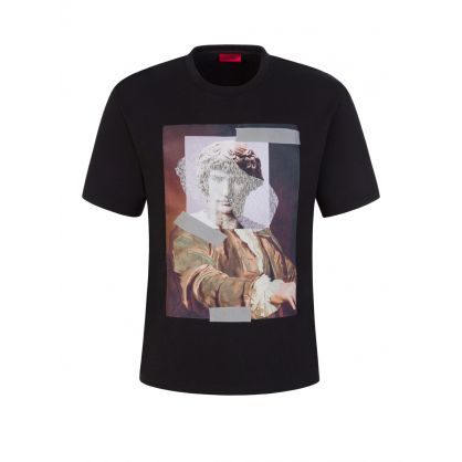 Black Relaxed-Fit Abstract Statue Artwork T-Shirt