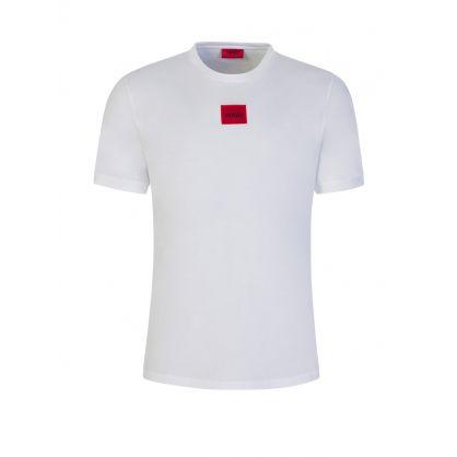 White Cotton-Jersey Diragolino Patch Logo T-Shirt