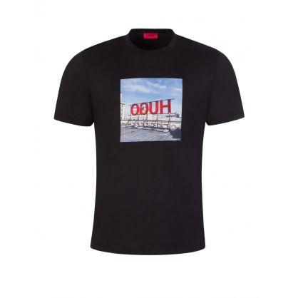 Black Photographic Reversed Logo Print T-Shirt