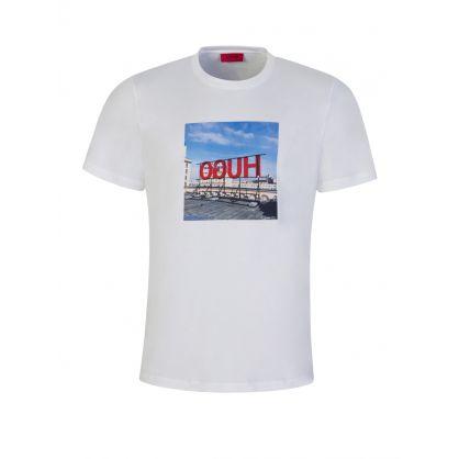 White Photographic Reversed Logo Print T-Shirt