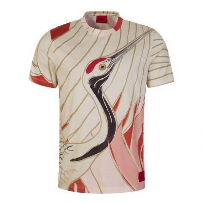 Red/Cream Dobbiko Japanese Crane-print T-Shirt
