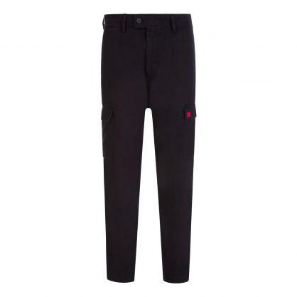 Black Slim-Fit Cotton Twill Logo Pocket Trousers