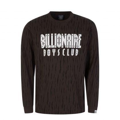 Grey Long-Sleeve Print Straight Logo T-Shirt