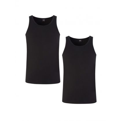 Black Slim-Fit Cotton Stretch Tank Tops 2-Pack