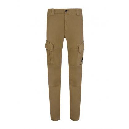 Beige Sateen Stretch Cargo Pants