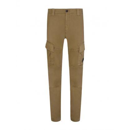 Beige Sateen Stretch Cargo Pants