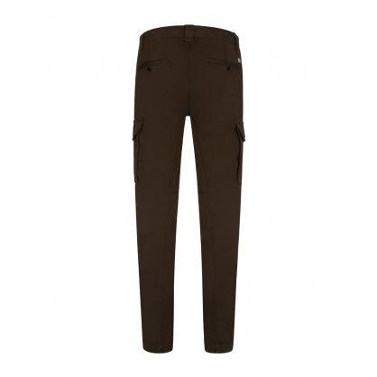 Dark Green Sateen Stretch Cargo Pants